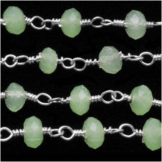 Green Chalcedony Gem. Sterling Silver Wire Wrapped Chain 4mm Rondelles - By Inch