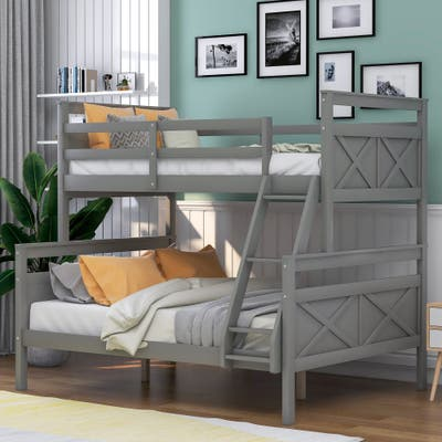 Twin over Full Bunk Bed Kid's Bed with Ladder & Safety Guardrail, Grey