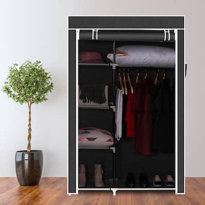 64-inch Portable Closet Storage Organizer Wardrobe Clothes Rack