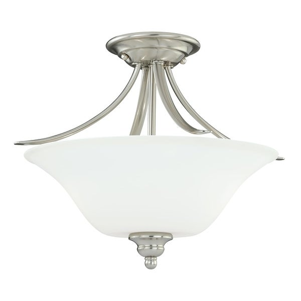 "Vaxcel Lighting C0054 Darby 2-Light Semi-Flush Indoor Ceiling Fixture with Etched Glass Shade - 16"" Wide - satin nickel - n/a"