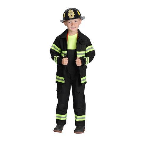 Black Firefighter Jacket & Bib Overalls W/ Suspenders Size 4-6