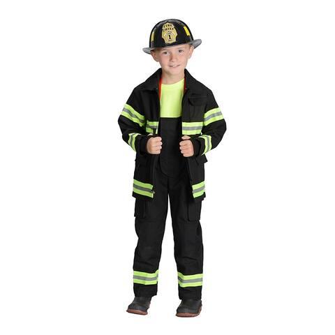 Black Firefighter Jacket & Bib Overalls W/ Suspenders Size 6-8