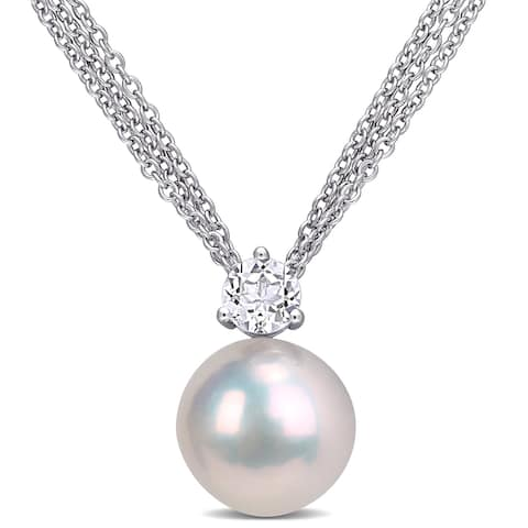 Miadora Sterling Silver Cultured Freshwater Pearl and White Topaz Multi-Chain Necklace (11-12 MM)