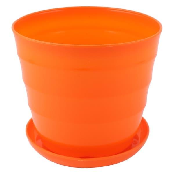 Home Office Garden Plastic Plant Planter Flower Pot Orange 12.5cm Dia w Tray. Opens flyout.