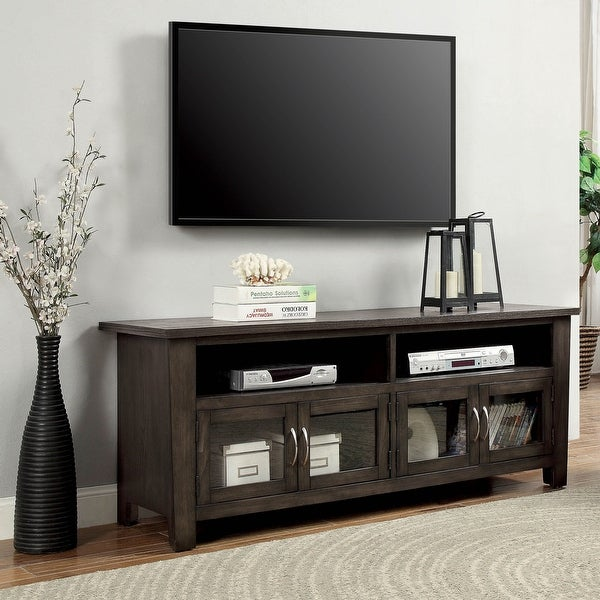 Furniture of America Dane Contemporary Grey Solid Wood 2-shelf TV Console. Opens flyout.