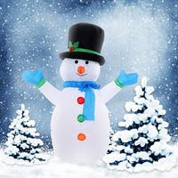 Costway 4 Ft Airblown Inflatable Christmas Snowman Decoration Lighted Lawn Yard Outdoor - WHITE