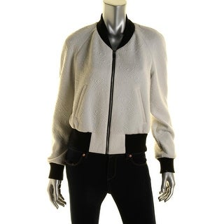 Rachel Roy Womens Ribbed Trim Textured Cropped Jacket