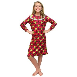Intimo Girls' Dr Seuss How the Grinch Stole Christmas Flannel Nightgown