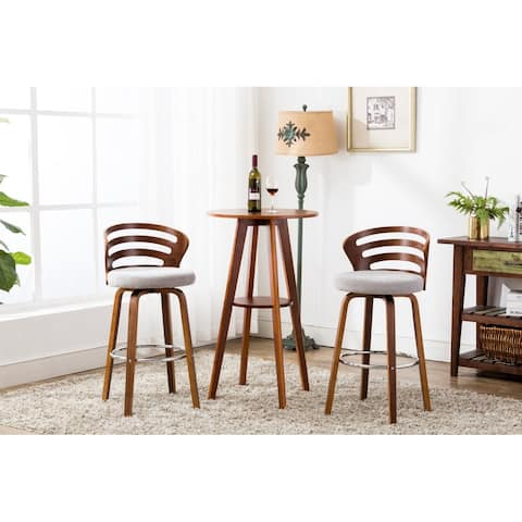 Porthos Home Elora Counter Stool - Wooden Legs & Fabric Upholstery