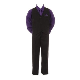 Baby Boys Purple Shirt Necktie Black Pinstripe Pants Vest 4 Pc Suit