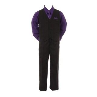 Boys Purple Shirt Necktie Black Pinstripe Pants Vest 4 Pc Suit