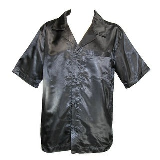 Majestic International Men's Satin Short Sleeve Button Up Pajama Top - Black - S