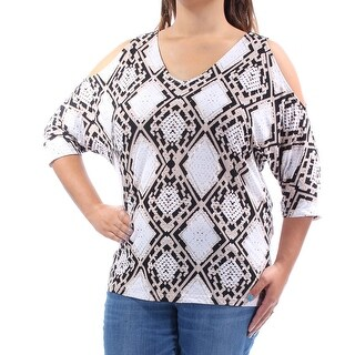 Womens Black 3/4 Sleeve V Neck Casual Top Size XL