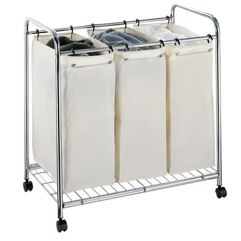 "Organize It All 1763 30"" Wide Three Compartment Rolling Laundry Hamper - - Chrome"
