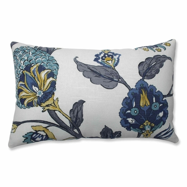 """18.5"""" Gray and Blue Transitional Rectangular Throw Pillow with Sewn Seam Closure"""