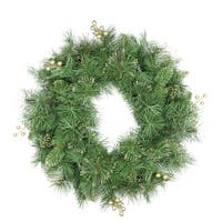 "24"" Mixed Pine and Glittered Berry Artificial Christmas Wreath - Unlit - green"