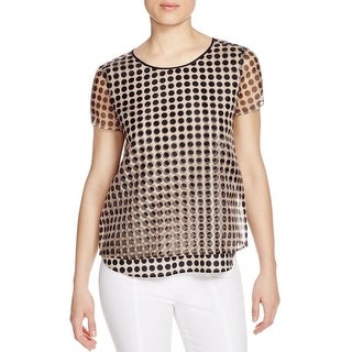 Finity Womens Casual Top Polka Dot Short Sleeve