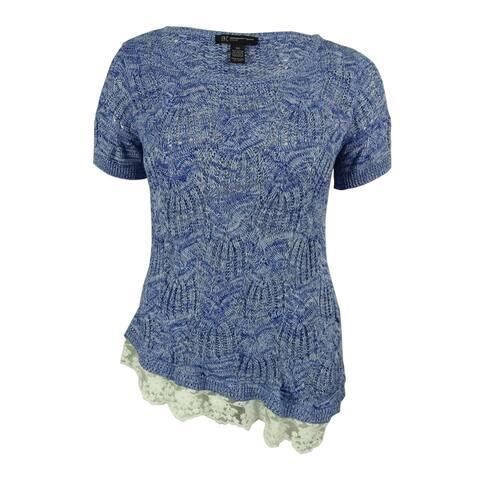 INC International Concepts Women's Lace Hem Open-Knit Top