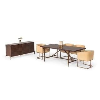 Modrest Shane Modern Acacia & Brass Dining Table