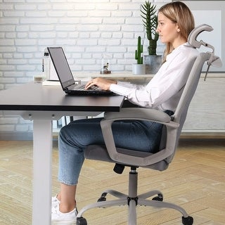 Link to SMUGDESK  High Back Ergonomic Mesh Desk Office Chair with Padding Armrest and Adjustable Headrest Black - N/A Similar Items in Office & Conference Room Chairs