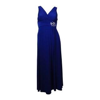 Patra Women's Embellished Empire Waist Pleated Jersey Dress