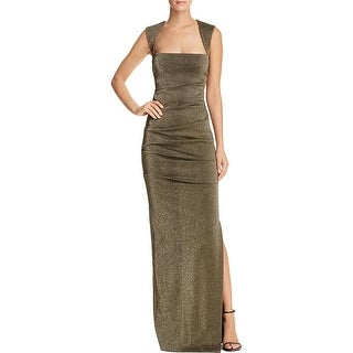 Nicole Miller Womens Felicity Evening Dress Metallic Pleated