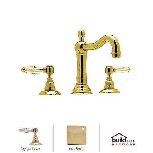 Rohl A1409LC-2 Country Bath Widespread with Swarovski elements Crystal Lever Handles and Pop-Up Drain