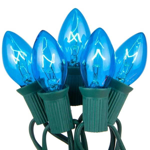 Wintergreen Lighting 67238 25 C7 5W Holiday Bulbs on Green Wire - BLue - N/A