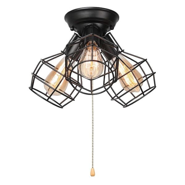 Super Shop 3 Light Vintage Industrial Wire Cage Pull String Ceiling Light Wiring 101 Archstreekradiomeanderfmnl