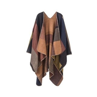 Women's Block Pattern Open Front Poncho
