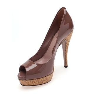"Gucci Women's Leather ""Vernice"" Peep Toe Pumps Tan - 5.5 us (35.5 eur)"