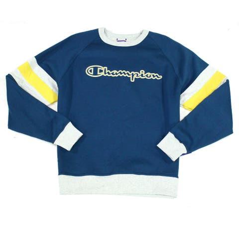 Champion Mens Sweatshirt Gray Yellow Pullover Logo