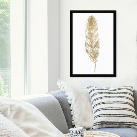 Oliver Gal 'Feather' Fashion and Glam Wall Art Framed Print Feathers - Gold, White
