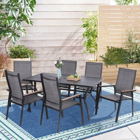 MFSTUDIO 7 Pieces Dining Set, 6 x Aluminium Stackable Dining Chairs and 1 x Table