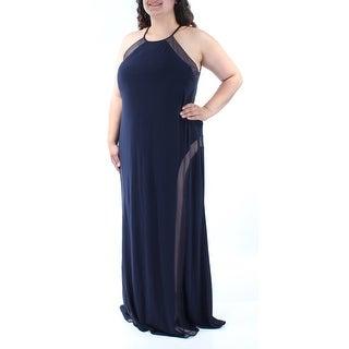 Womens Navy Sleeveless Maxi A-Line Formal Dress Size: 18