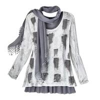 Women's Tunic Top Set - Abstract Ash Print 3-Pc. Set