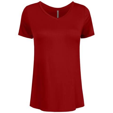 NE PEOPLE Womens Basic Shorts Sleeve V-neck T-shirts -NEWT308