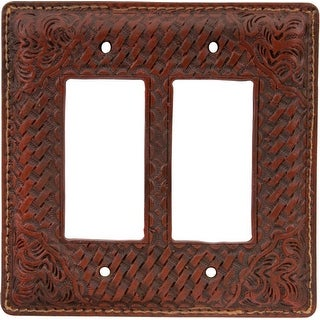 3D Western Switch Plate Resin Double Rocker Hardware Tan SP541
