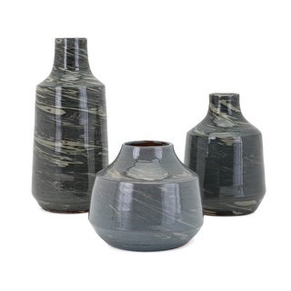 IMAX Home 15262-3  Stuart Three Piece Ceramic Vase Set - Gray