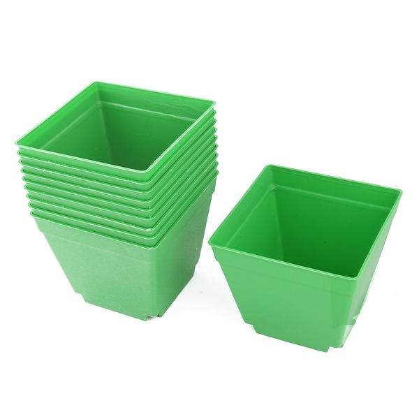 Coffee Shop Plastic Square Flower Plant Pot Saucer Holder Green 4 x 4 Inch 10pcs