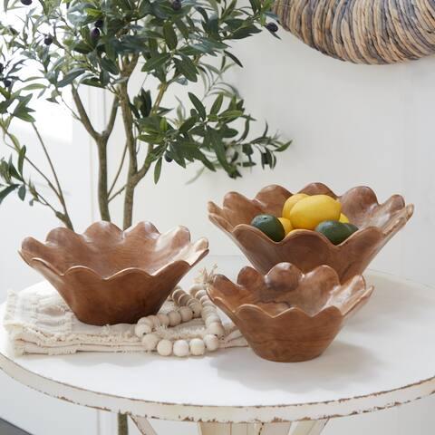 Brown Teak wood Natural Decorative Bowl (Set of 3) - 10 x 10 x 4