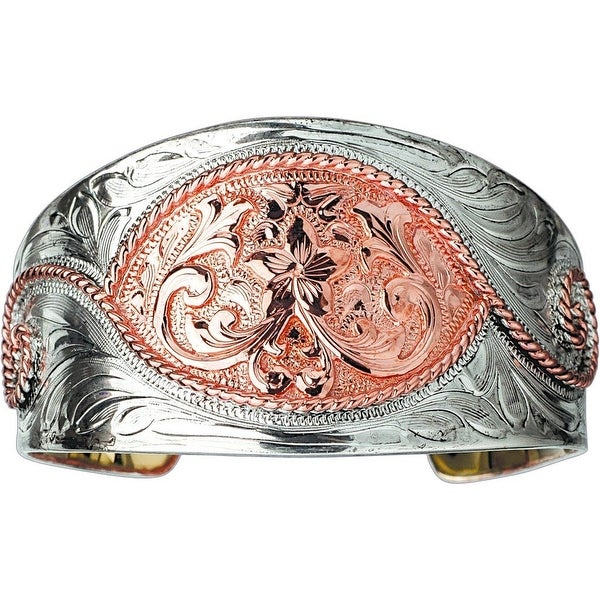 "Bar V Western Women Bracelet Engraved Wide Cuff 1 3/8"" Silver 314-219"
