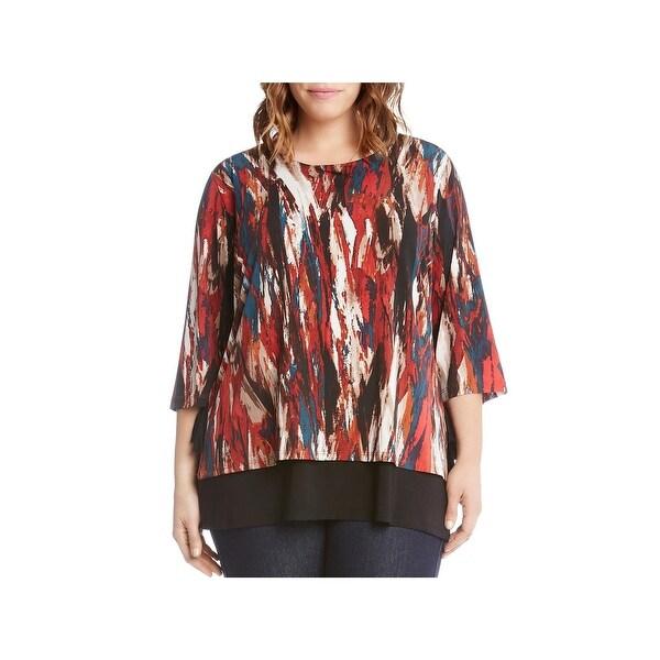9b5677cdb93 Shop Karen Kane Womens Plus Knit Top Three-Quarter Sleeve Layered ...