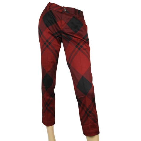 Gucci Check Print Holiday Red / Black Cotton Elastane Capri Pants 326489 6059