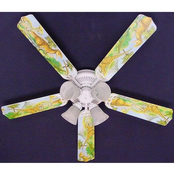 Dinosaurs Print Blades 52in Ceiling Fan Light Kit - Multi