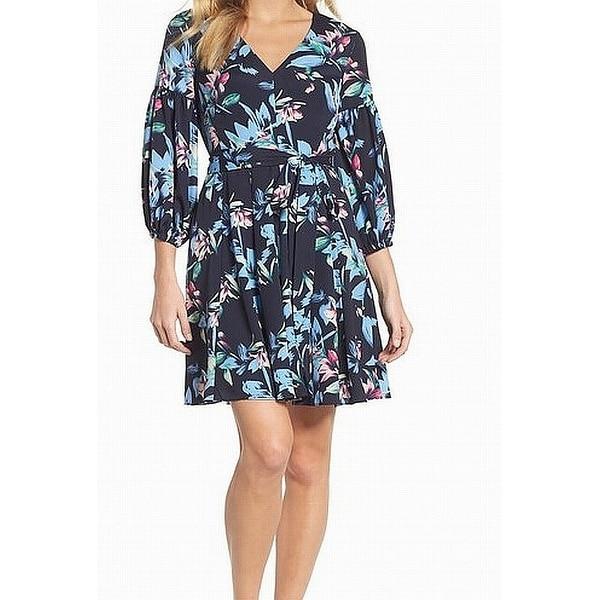 Eliza J Blue Floral Print V-Neck Balloon Sleeve 8 Sheath Dress