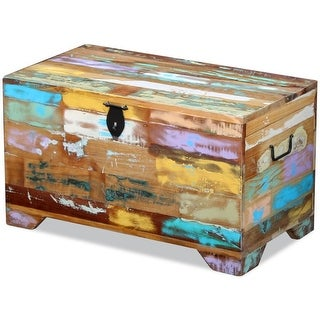 vidaXL Solid Reclaimed Wood Storage Chest Box Trunk Coffee Side Couch Table - multi-color