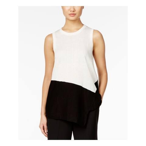 ANNE KLEIN Womens Ivory Sleeveless Jewel Neck Hi-Lo Sweater Size M