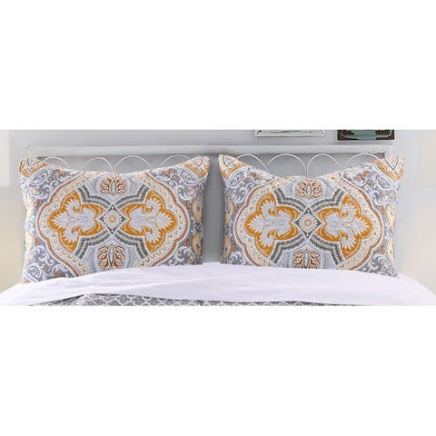 Prut 26 x 20 Cotton Standard Pillow Sham with Ornate Medallion Print, Gold and Gray
