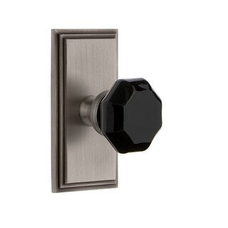 Grandeur CARLYO_SP_SD_NA  Carre Solid Brass Rose Single Dummy Door Knob with Lyon Black Crystal Knob